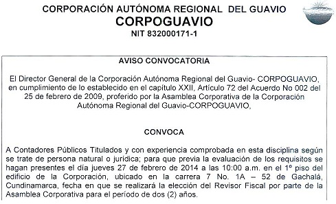 Convocatoria Revisor Fiscal 2014